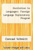 cover of Invitation to Languages : Foreign Language Exploratory Program