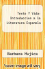 cover of Texto Y Vida: Introduccion a la Literatura Espanola (1st edition)
