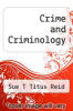 cover of Crime and Criminology (6th edition)
