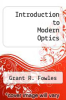 cover of Introduction to Modern Optics