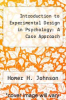 cover of Introduction to Experimental Design in Psychology: A Case Approach (2nd edition)
