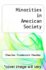 cover of Minorities in American Society (6th edition)