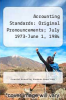 cover of Accounting Standards: Original Pronouncements; July 1973-June 1, 1984