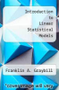 cover of Introduction to Linear Statistical Models