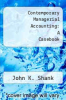 cover of Contemporary Managerial Accounting: A Casebook