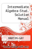 Cover of Intermediate Algebra-Stud. Solution Manual 7th edition