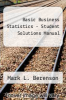 cover of Basic Business Statistics - Student Solutions Manual (14th edition)
