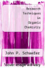cover of Research Techniques in Organic Chemistry