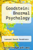 cover of Goodstein: Bnormal Psychology