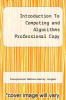 cover of Introduction To Computing and Algorithms Professional Copy