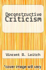 cover of Deconstructive Criticism