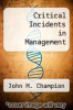 cover of Critical Incidents in Management (5th edition)