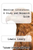 cover of American Literature: A Study and Research Guide
