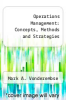 cover of Operations Management: Concepts, Methods and Strategies