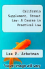cover of California Supplement, Street Law: A Course in Practical Law (4th edition)
