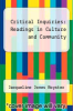 cover of Critical Inquiries: Readings in Culture and Community