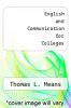 cover of English and Communication for Colleges