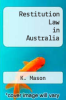 cover of Restitution Law in Australia