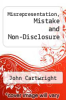 cover of Misrepresentation, Mistake and Non-Disclosure