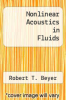 cover of Nonlinear Acoustics in Fluids