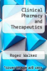 cover of Clinical Pharmacy and Therapeutics (4th edition)