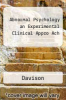 cover of Abnormal Psychology an Experimental Clinical Appro Ach (3rd edition)