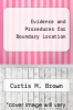 cover of Evidence and Procedures for Boundary Location (2nd edition)