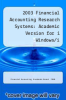 cover of 2003 Financial Accounting Research Systems: Academic Version for i Windows/i (1st edition)