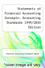 cover of Statements of Financial Accounting Concepts: Accounting Standards 1999/2000 Edition ( edition)