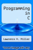 cover of Programming in C (1st edition)