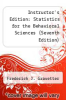 cover of Instructor`s Edition: Statistics for the Behavioral Sciences (Seventh Edition)