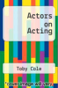 cover of Actors on Acting (4th edition)