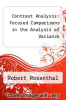 cover of Contrast Analysis: Focused Comparisons in the Analysis of Variance