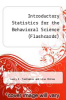 cover of Introductory Statistics for the Behavioral Science (Flashcards) (2nd edition)