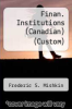 cover of Finan. Institutions (Canadian) (Custom)