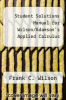 cover of Student Solutions Manual for Wilson/Adamson`s Applied Calculus (1st edition)