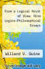 cover of From a Logical Point of View: Nine Logico-Philosophical Essays (2nd edition)
