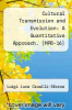 cover of Cultural Transmission and Evolution: A Quantitative Approach. (MPB-16)