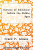 cover of History of Education before the Middle Ages