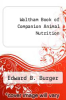 cover of Waltham Book of Companion Animal Nutrition (2nd edition)