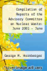 cover of Compilation of Reports of the Advisory Committee on Nuclear Waste: June 2001 - June 2002