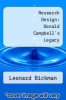 cover of Research Design: Donald Campbell`s Legacy