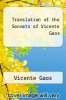cover of Translation of the Sonnets of Vicente Gaos