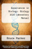 cover of Experiences in Biology: Biology 1020 Laboratory Manual