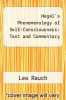 cover of Hegel`s Phenomenology of Self-Consciousness: Text and Commentary