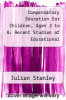 cover of Compensatory Education for Children, Ages 2 to 8: Recent Studies of Educational Intervention