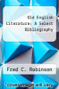 cover of Old English Literature: A Select Bibliography