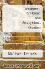 cover of Schubert: Critical and Analytical Studies