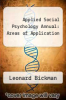 cover of Applied Social Psychology Annual: Areas of Application