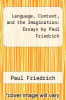 cover of Language, Context, and the Imagination: Essays by Paul Friedrich